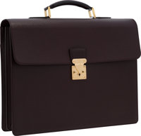 """Louis Vuitton Burgundy Taiga Leather Moskova Briefcase Bag Very Good to Excellent Condition 16"""""""