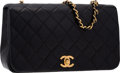 """Luxury Accessories:Bags, Chanel Black Quilted Lambskin Leather Small Single Flap Bag withGold Hardware. Very Good Condition. 9"""" Width x 5""""Hei..."""