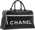 "Luxury Accessories:Bags, Chanel Black Quilted Lambskin Leather Boston Travel Bag . VeryGood to Excellent Condition . 18.5"" Width x 9.5""Height..."