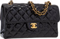 "Luxury Accessories:Bags, Chanel Black Quilted Patent Leather Medium Single Flap Bag withGold Hardware. Very Good Condition. 10"" Width x 6""Hei..."