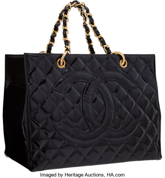 cf45d5cdf2d0 Chanel Black Quilted Patent Leather Medium Shopping Tote with