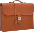 "Luxury Accessories:Bags, Hermes Etrusque Chevre Leather Sac a Depeches Single GussetBriefcase Bag with Palladium Hardware. Good Condition.15""..."