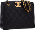 "Luxury Accessories:Bags, Chanel Black Quilted Caviar Leather Tote Bag with Gold Hardware.Very Good Condition. 11"" Width x 9"" Height x 3""Depth..."