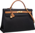 """Luxury Accessories:Bags, Hermes 40cm Black & Gold Ardennes Leather Retourne Kelly Bag with Gold Hardware. Very Good Condition. 15.5"""" Width x 13..."""