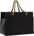 "Luxury Accessories:Bags, Chanel Black Quilted Caviar Leather Tote Bag with Gold Hardware .Very Good Condition . 13"" Width x 9"" Height x 6.5""D..."
