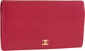 "Luxury Accessories:Accessories, Chanel Red Leather Bifold Wallet with Gold Hardware. ExcellentCondition. 7"" Width x 4"" Height x .5"" Depth. ..."
