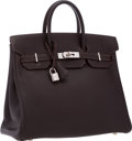 """Luxury Accessories:Bags, Hermes 32cm Chocolate Chevre Leather HAC Birkin Bag with Palladium Hardware. Very Good to Excellent Condition. 12.5"""" W..."""