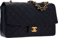 "Luxury Accessories:Bags, Chanel Navy Quilted Lambskin Leather Medium Single Flap Bag withGold Hardware. Very Good Condition. 10.5"" Width x 6""..."