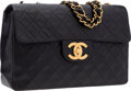 "Luxury Accessories:Bags, Chanel Black Quilted Lambskin Leather Maxi Single Flap Bag withGold Hardware. Good to Very Good Condition . 13""Width..."