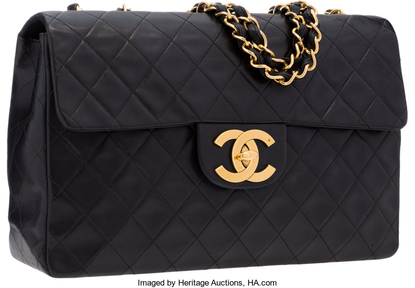 a00143c82f4 ... Luxury Accessories:Bags, Chanel Black Quilted Lambskin Leather Maxi  Single Flap Bag withGold Hardware ...