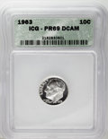 Proof Roosevelt Dimes: , 1963 10C PR69 Deep Cameo ICG. NGC Census: (112/0). PCGS Population(186/0). Numismedia Wsl. Price: $200. (#95238)...