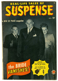 "Suspense #1 (Atlas, 1949) Condition: VG/FN. Peter Lorre and Sydney Greenstreet photo cover. Centerfold detached. ""1..."
