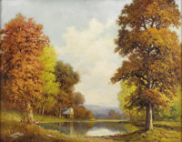 ROBERT WOOD (1889-1979) Untitled Autumn Landscape by the Lake Oil on canvas 28in. x 36in. Signed lower right  A large...