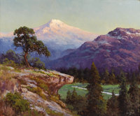 ROBERT WOOD (1889-1979) Mount Ranier, 1940s Oil on canvas 25in. x 30in. Signed lower right  This painting will tak