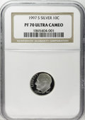 Proof Roosevelt Dimes: , 1997-S 10C Silver PR70 Deep Cameo NGC. NGC Census: (113/0). PCGSPopulation (56/0). Numismedia Wsl. Price: $100. (#95285)...