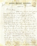 Autographs:Military Figures, Abraham Lincoln Content Soldier Letter from the Office of the Provost Marshal at Norfolk, Virginia dated April 20, 1865. Two...