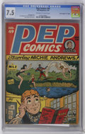 "Golden Age (1938-1955):Humor, Pep Comics #49 Davis Crippen (""D"" Copy) pedigree (MLJ, 1944) CGC VF- 7.5 Off-white to white pages. Harry Sahle cover and art..."