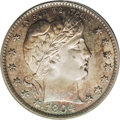 Proof Barber Quarters: , 1894 25C PR66 Cameo PCGS. The obverse has a coating of golden-brown, gold, cobalt-blue, and purple-red that frames the brig...