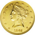 Liberty Eagles: , 1865 $10 AU55 Prooflike NGC. There are no proof-only dates withinthe Liberty eagle series, unlike the other gold denominat...