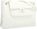 "Luxury Accessories:Bags, Chanel White Quilted Caviar Leather Shoulder Bag with SilverHardware. Excellent Condition . 14"" Width x 11"" Height x..."