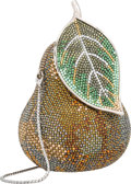 """Luxury Accessories:Bags, Judith Leiber Full Bead Green & Gold Crystal Pear MinaudiereEvening Bag . Very Good Condition . 4"""" Width x 4"""" Height..."""