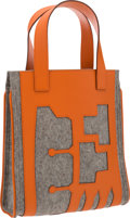 "Luxury Accessories:Bags, Hermes Petit H Collection Orange H Epsom Leather & Gray WoolSkeleton Tote Bag. Excellent Condition. 10"" Width x 11""H..."