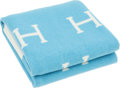 "Luxury Accessories:Accessories, Hermes Ciel & Ecru Wool and Cashmere Baby Blanket. ExcellentCondition. 40"" Width x 56"" Length. ..."