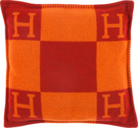 "Hermes Orange & Red Wool and Cashmere Avalon Pillow Excellent Condition 19"" Width x 19"" Height x"
