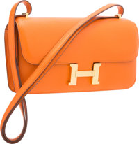 "Hermes Orange H Swift Leather Constance Elan Bag with Gold Hardware Excellent Condition 10"" Wid"