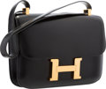 "Luxury Accessories:Bags, Hermes 23cm Black Calf Box Leather Single Gusset Constance Bag withGold Hardware. Good Condition . 9"" Width x 6"" Heig..."