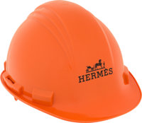 "Hermes Limited Edition Orange PVC Construction Hard Hat Very Good Condition 9"" Width x 6"" Height"
