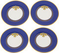"Luxury Accessories:Home, Hermes Set of Four; Blue & Gold Rubans du Cheval LimogesPorcelain Dinner Plates. Excellent Condition. 10""Diameter..."