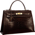 Luxury Accessories:Bags, Hermes 32cm Shiny Marron Fonce Porosus Crocodile Sellier Kelly Bag with Gold Hardware. Good to Very Good Condition. 12...