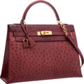 "Luxury Accessories:Bags, Hermes 32cm Rouge H Ostrich Sellier Kelly Bag with Gold Hardware.Very Good Condition. 12.5"" Width x 9"" Height x 4""De..."