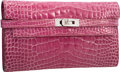 """Luxury Accessories:Accessories, Hermes Shiny Fuchsia Alligator Kelly Long Wallet with Palladium Hardware. Very Good Condition. 8"""" Width x 4"""" Height x ..."""
