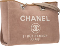 """Chanel Ecru Canvas Deauville MM Tote Bag with Silver Hardware Excellent Condition 15"""" Width x 11"""