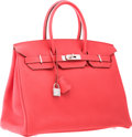 """Luxury Accessories:Bags, Hermes 35cm Rouge Pivoine Clemence Leather Birkin Bag withPalladium Hardware. Excellent Condition. 14"""" Width x 10""""He..."""