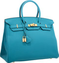 "Luxury Accessories:Bags, Hermes 35cm Turquoise Togo Leather Birkin Bag with Gold Hardware. Pristine Condition. 14"" Width x 10"" Height x 7"" Dept..."