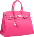 Luxury Accessories:Bags, Hermes Limited Edition Candy Collection 35cm Rose Tyrien &Rubis Epsom Leather Birkin Bag with Palladium Hardware. VeryGo...