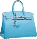 Luxury Accessories:Bags, Hermes Limited Edition Candy Collection 35cm Blue Celeste &Mykonos Epsom Leather Birkin Bag with Palladium Hardware.Very...