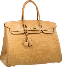 Hermes 35cm Matte Paille Alligator Birkin Bag with Gold Hardware Very Good to Excellent Condition