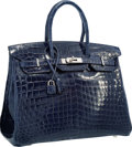 Luxury Accessories:Bags, Hermes 35cm Shiny Blue Abysse Nilo Crocodile Birkin Bag withPalladium Hardware. Very Good to Excellent Condition .14...