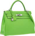 Luxury Accessories:Bags, Hermes 32cm Vert Cru Clemence Leather Retourne Kelly Bag with Palladium Hardware . Very Good to Excellent Condition . ...