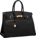 "Luxury Accessories:Bags, Hermes 35cm Black Ardennes Leather Birkin Bag with Gold Hardware.Very Good to Excellent Condition . 14"" Width x 10""H..."