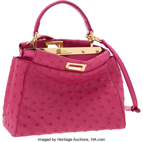 1e54fbdf8f4c Fendi Pink Ostrich Mini Peekaboo Bag with Gold Hardware. Very Good ...