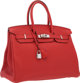 """Hermes 35cm Rouge Casaque Clemence Leather Birkin Bag with Palladium Hardware Very Good Condition 14"""" Width x 10&qu..."""