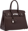 "Luxury Accessories:Bags, Hermes 30cm Chocolate Clemence Leather Birkin Bag with Palladium Hardware. Excellent Condition . 12"" Width x 8"" Height..."