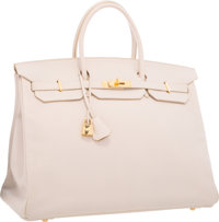 Hermes 40cm Craie Clemence Leather Birkin Bag with Gold Hardware Very Good to Excellent Condition