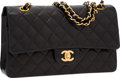 """Luxury Accessories:Bags, Chanel Black Quilted Lambskin Leather Medium Double Flap Bag withGold Hardware . Very Good to Excellent Condition . 10"""" W..."""