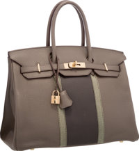 Hermes Limited Edition 35cm Etain & Graphite Clemence Leather and Gris Fonce Lizard Club Birkin Bag with Permabr...